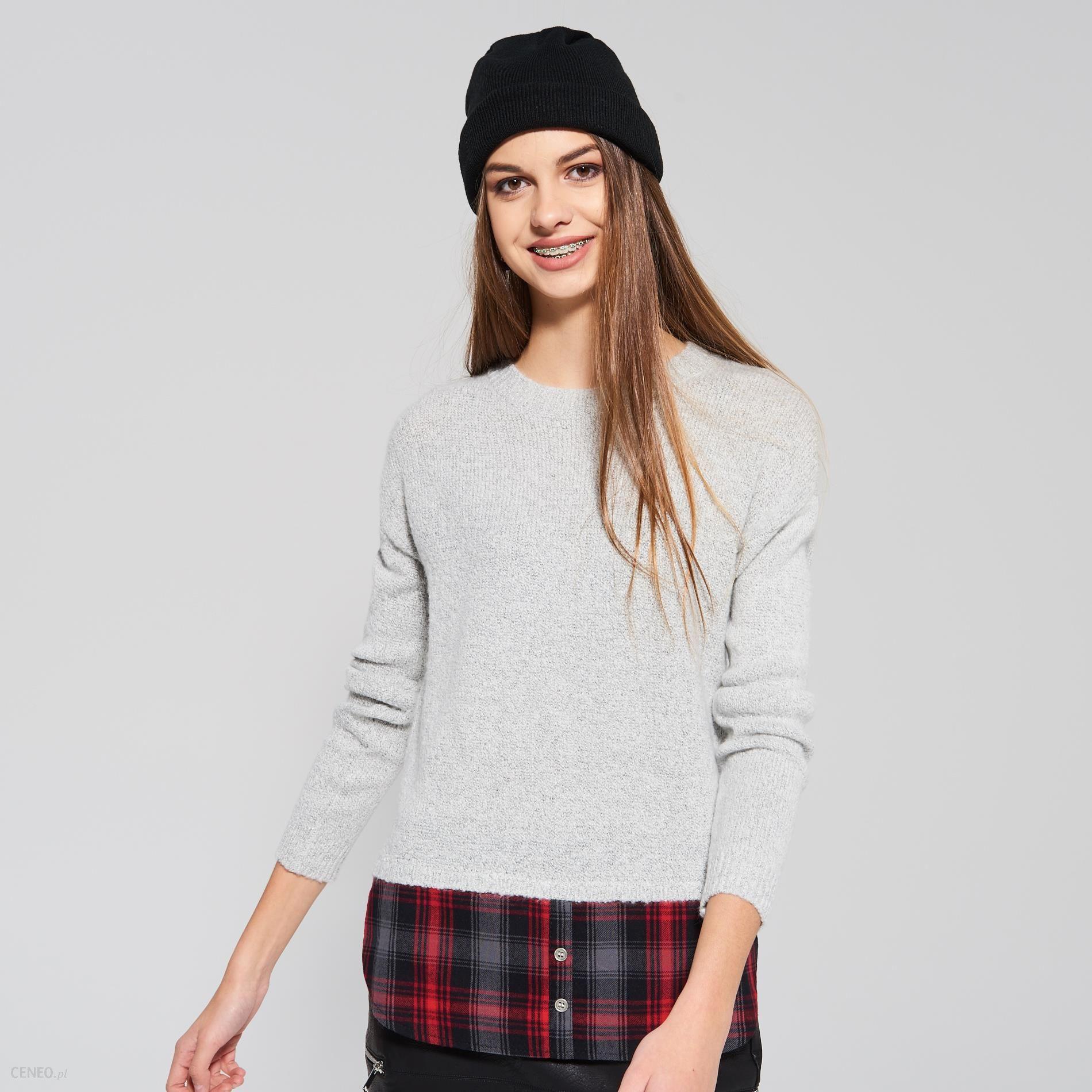 1c0df518b1771e Sinsay - Krótki sweter - Szary - damska - Ceny i opinie - Ceneo.pl