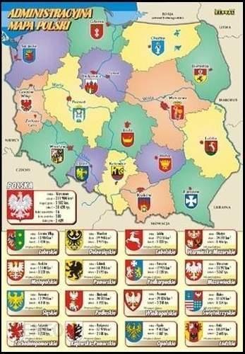 Administracyjna Mapa Polski Z Herbami Stolic Wojewodztw Ceny I