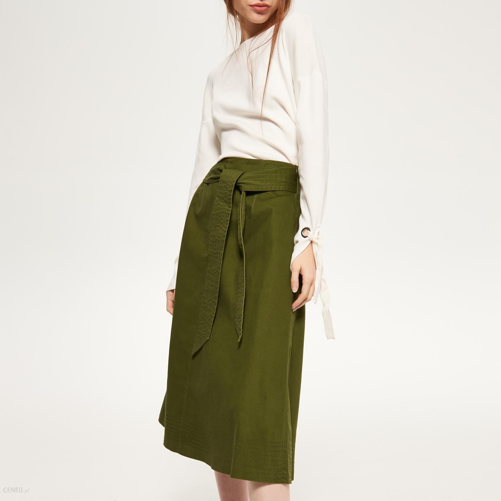 Reserved Militarna spódnica Zielony damska Ceny i