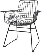 Hk Living Krzesło Metalowe Wire Czarny Z Podłokietnikami Fur0020