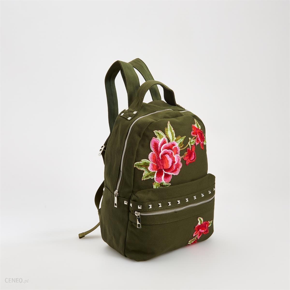 4e22a98853263 Reserved - Plecak z wyhaftowanymi różami - Zielony - damska - Ceny i ...