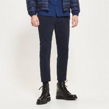 Reserved Spodnie z gładkiej bawełny Granatowy męska