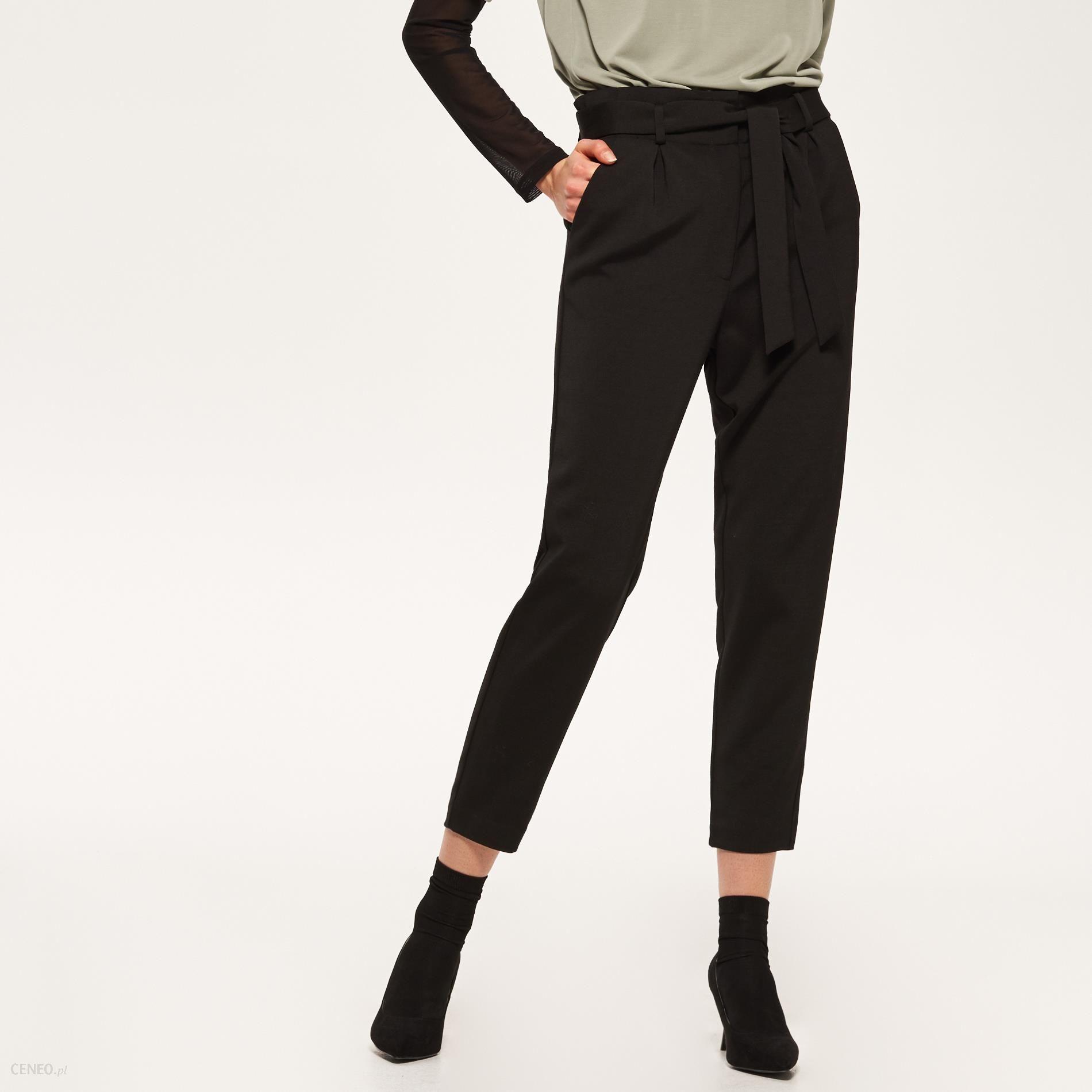 f1c9c7af Reserved - Spodnie z wiązaniem w talii - Czarny - damska