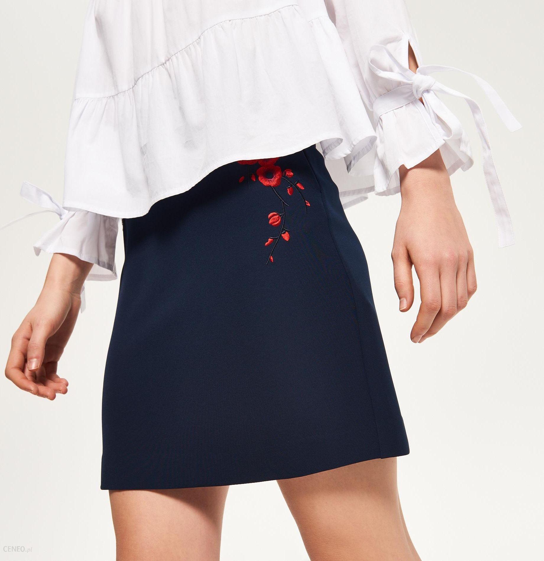 Reserved Spódnica z kieszeniami Granatowy damska