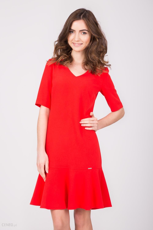 1511d544ad Czerwona sukienka z baskinką u dołu - Ceny i opinie - Ceneo.pl