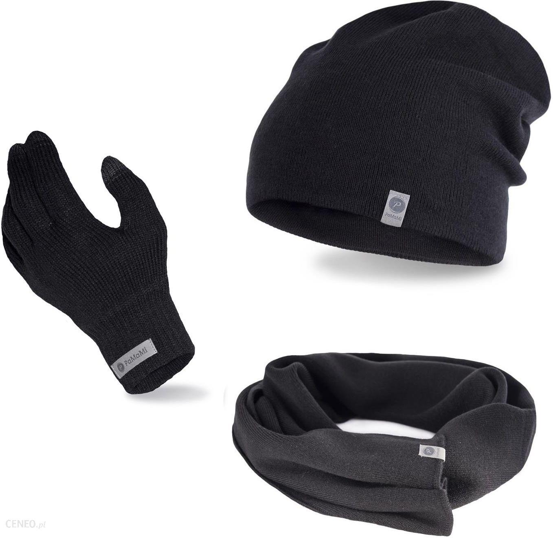 Komplet męski czapka, szalik i rękawiczki Czarny
