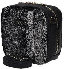 96c64f0f7ec08 Czarna mała stylowa torebka NOBO ze srebrnym futerkiem z paskiem NABAG  B1430-C022