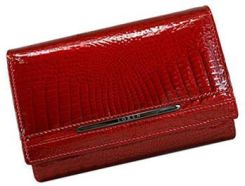 bd9940f84d213 Czerwony lakierowany elegancki portfel damski Loren ze skóry naturalnej  JP-507-RS RED FK