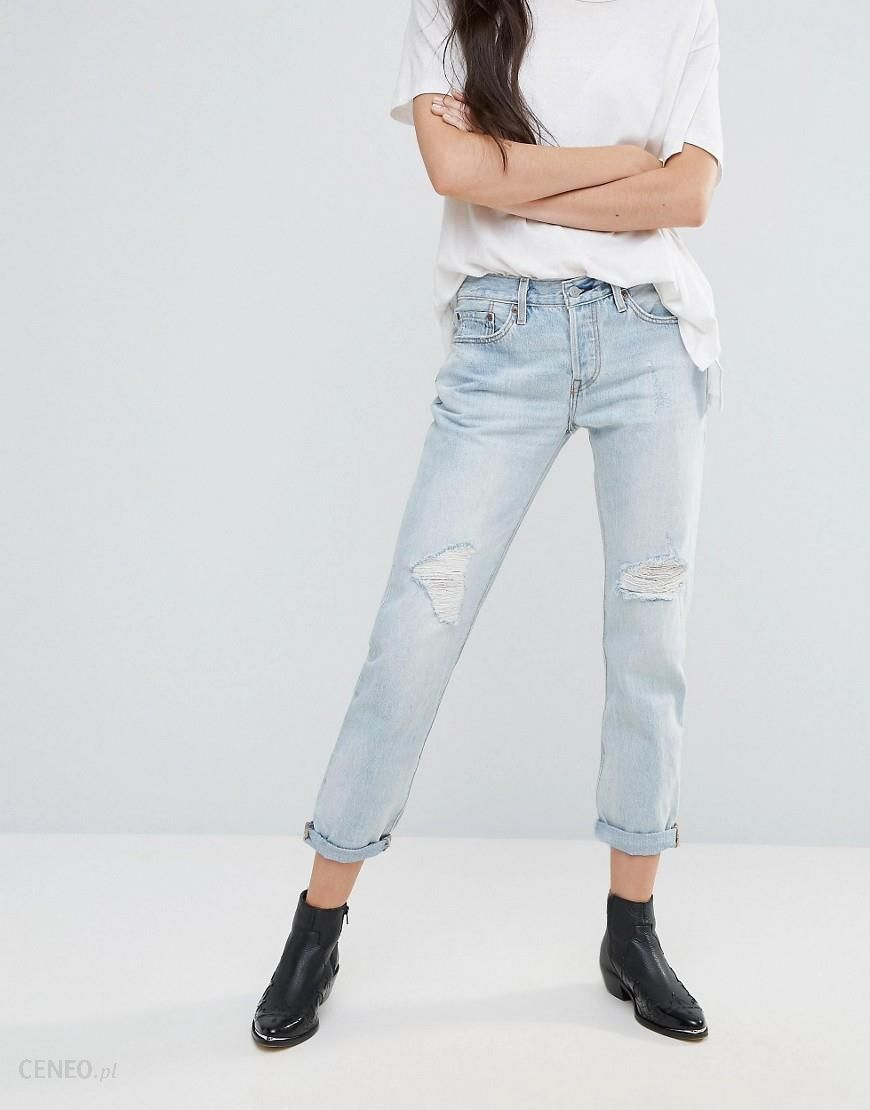 Levi's 501 CT Old Favourite Rip Boyfriend Roll Up Jeans Blue