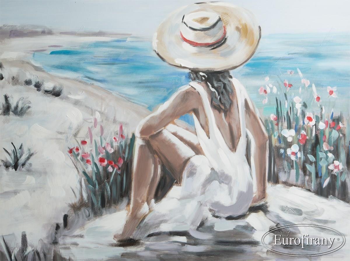Bardzo dobra Obraz Ręcznie Malowany - Kobieta nad morzem 60X80 cm - Eurofirany KH09