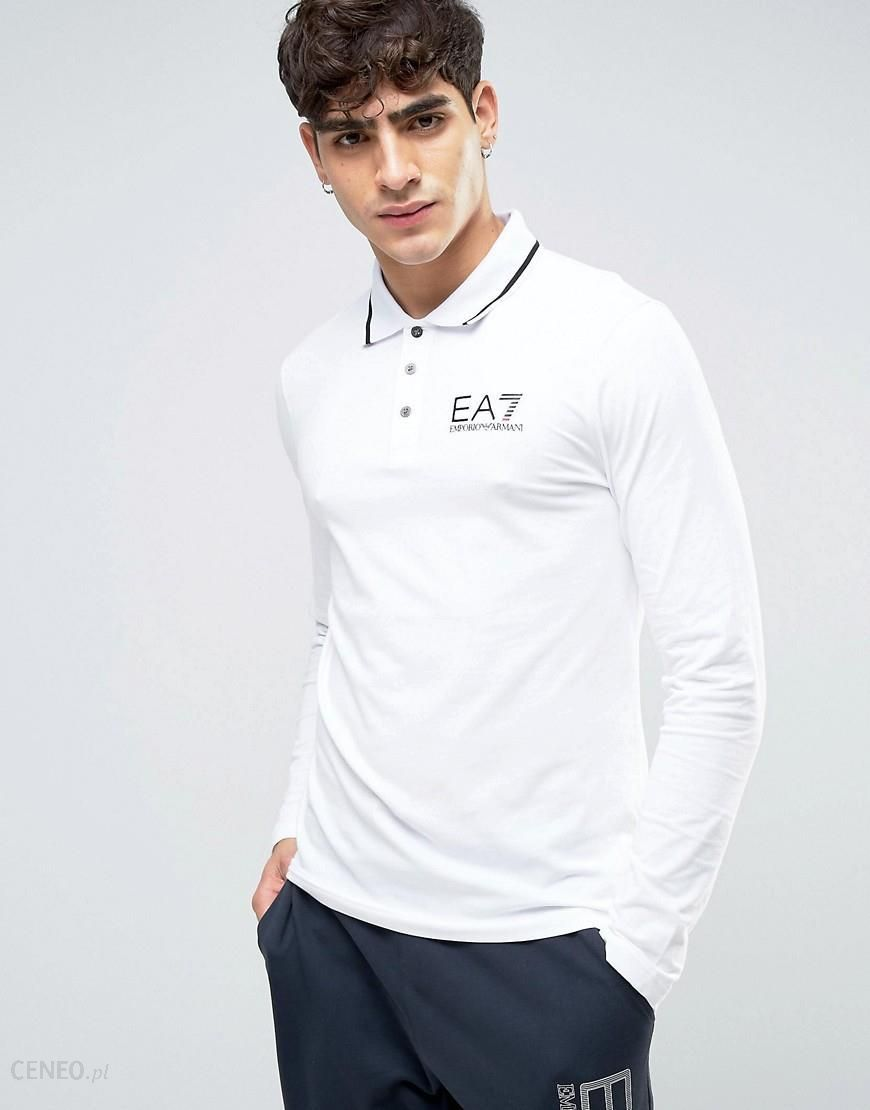 fb35ed9c Emporio Armani EA7 Polo Long Sleeve Tipped Stretch Slim Fit in White - White  - zdjęcie