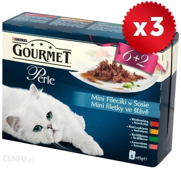 a7e1f817bd92e0 Karma dla kota Gourmet Zestaw 3x 8x85g Perle Mini fileciki w sosie Wołowina  kurczak królik łosoś