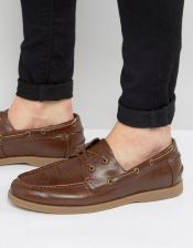ASOS Boat Shoes In Tan Faux Leather With Gum Sole - Tan - zdjęcie 1