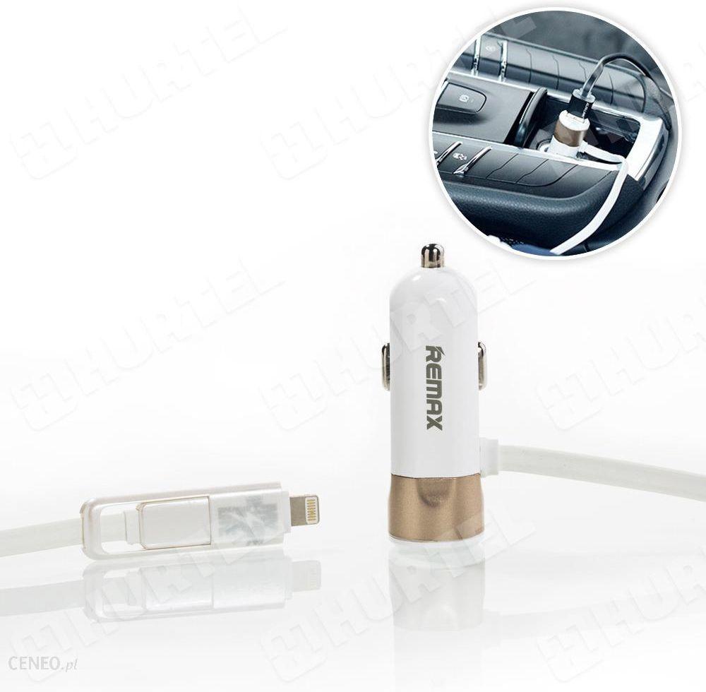 remax ładowarka samochodowa 3.4A z kablem lightning micro USB biała