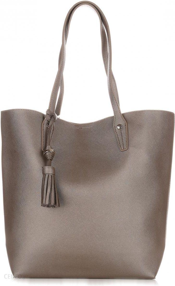 e34232890d63d Duża Torba Damska David Jones Typu Shopper Bag XXL z Kosmetyczką Stare  Złoto - zdjęcie 1