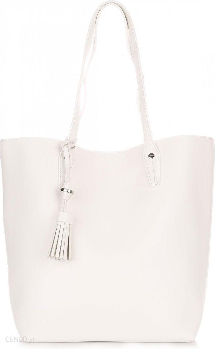 2104a3b3b3c23 Duża Torba Damska David Jones Typu Shopper Bag XXL z Kosmetyczką Biała -  zdjęcie 1