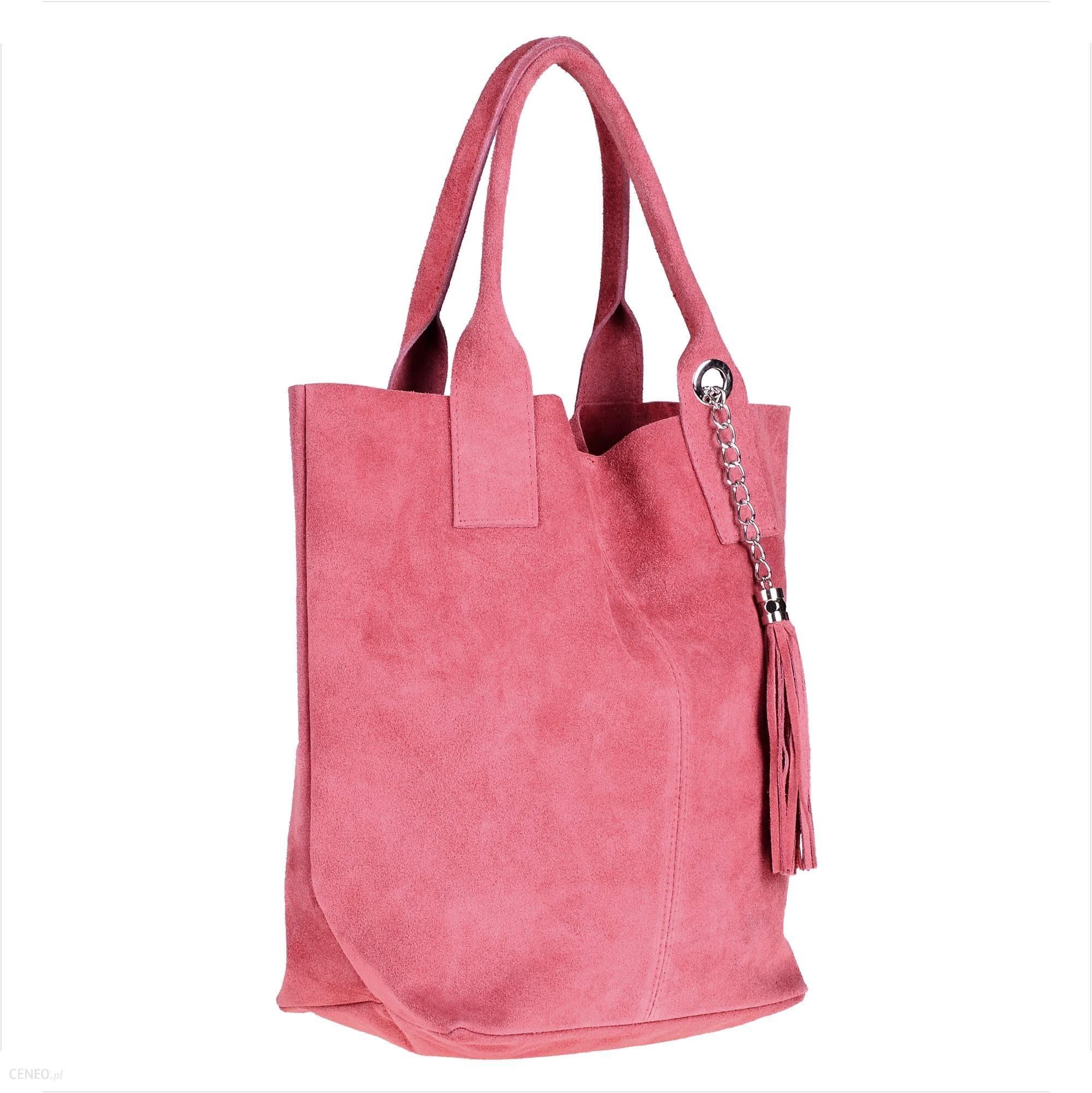 0f640a56daa54 Torebka shopper worek zamszowa róż pudrowy z kosmetyczką - Ceny i ...