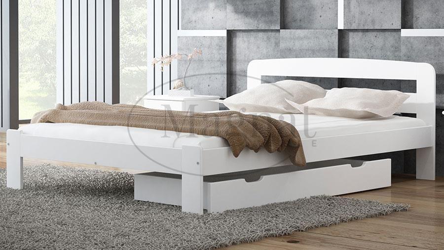 Magnat łóżko Drewniane Sara 120x200 Białe Z Materacem Piankowym