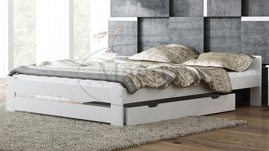 Magnat łóżko Drewniane Niwa 160x200 Białe Z Materacem Piankowym