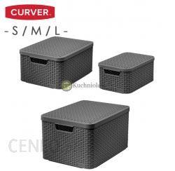 a50ef62c9874dc Curver Koszyk Pudełko Z Pokrywką X3 Szare Kosze Pojemniki S/M/L  (205841205848205863