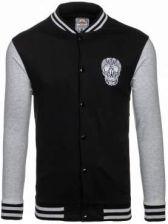 Czarno-szara bluza męska bez kaptura z nadrukiem Denley 0844 - zdjęcie 1