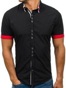 6459dfff0401 Czarna koszula męska elegancka z krótkim rękawem Bolf 2926