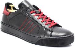 2cb9ecc126da0c KENT 293 CZARNY-CZERWONY- Skórzane buty sportowe - Czerwony || Czarny