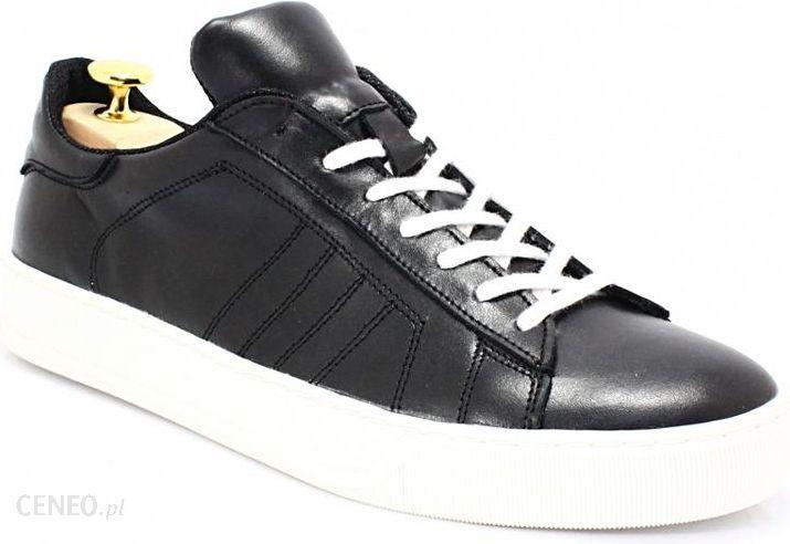 KENT 293 CZARNY BIAŁY Skórzane buty sportowe Biały || Czarny