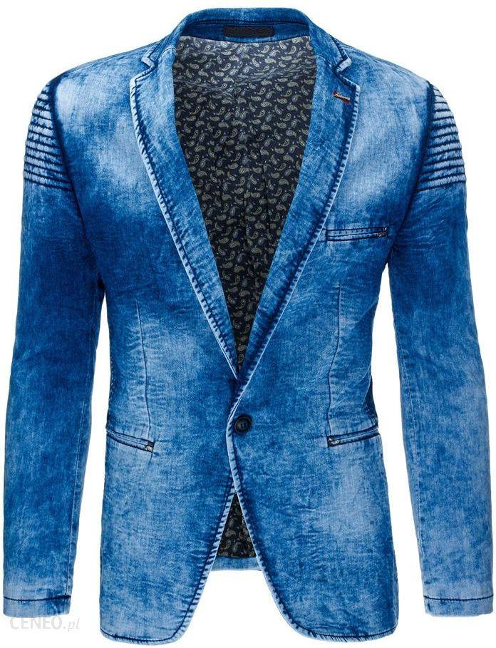5dbea13069273 Marynarka męska jeansowa niebieska (mx0302) - Niebieski - Ceny i ...