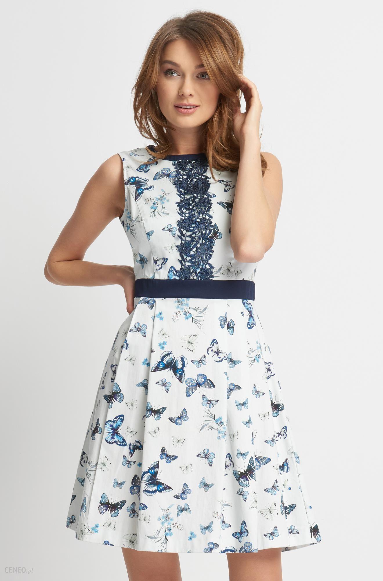 e141b5810b Rozkloszowana sukienka w motyle - Ceny i opinie - Ceneo.pl