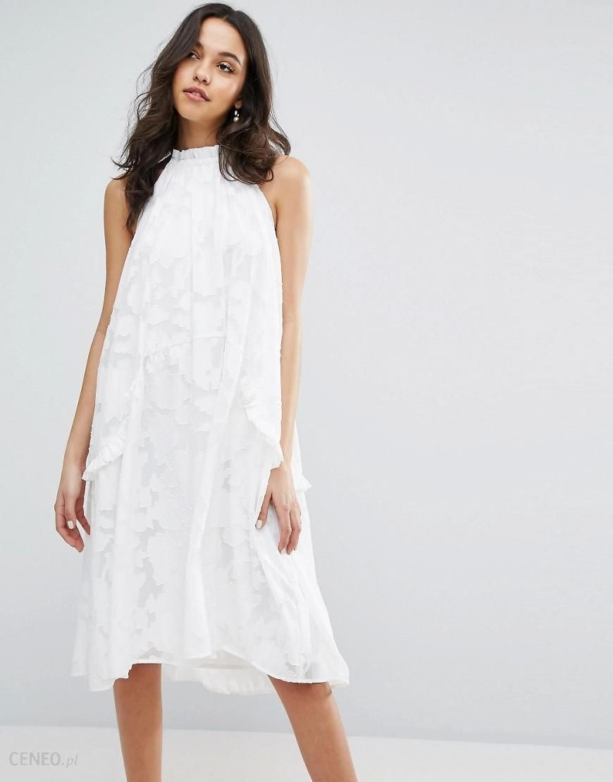 Lost Ink Halter Neck Swing Dress With Ruffle Pockets White Ceneo.pl