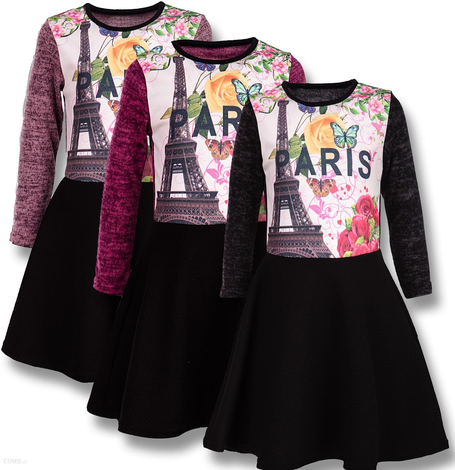 Schönes Mädchen Kleid mit Paris Druck - Ceneo.pl