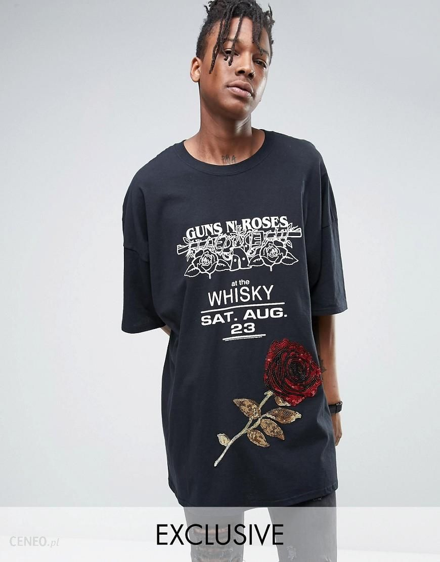 b10f5500741c6 Reclaimed Vintage Super Oversized T-Shirt With Guns N Roses Band Print And  Sequin Patch