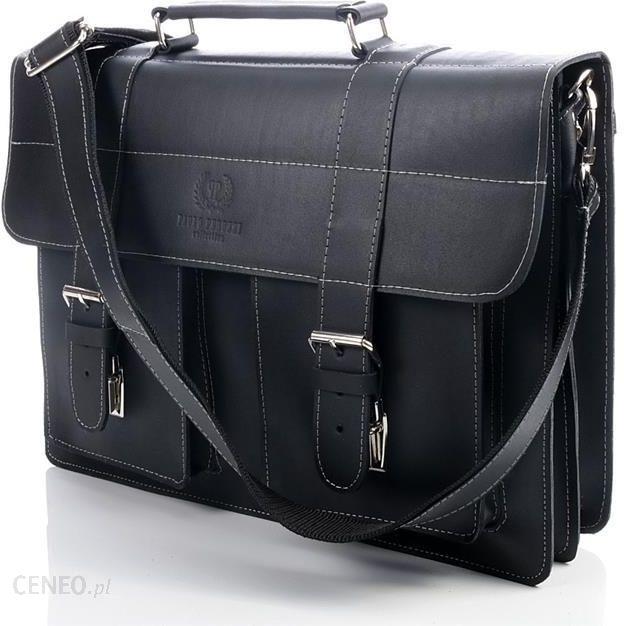1b1d27d1bc307 Ekskluzywna torba skórzana Paolo Peruzzi Vintage 045TM czarna gładka -  Czarny gładki - zdjęcie 1