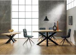 Stół rozkładany Cross do salonu jadalni z blatem dąb naturalny fornir z 4 krzesłami