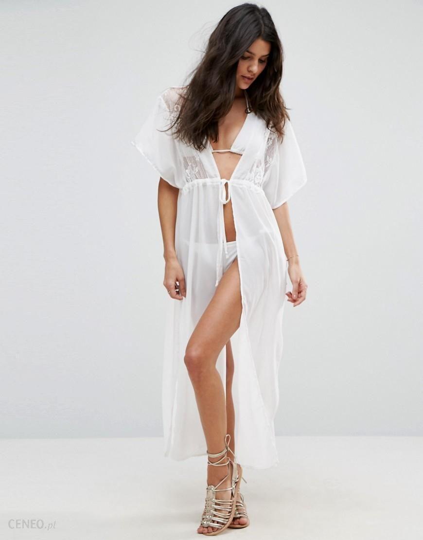 473cc4cba4 Liquorish Crochet Tie Front Beach Dress - White - zdjęcie 1