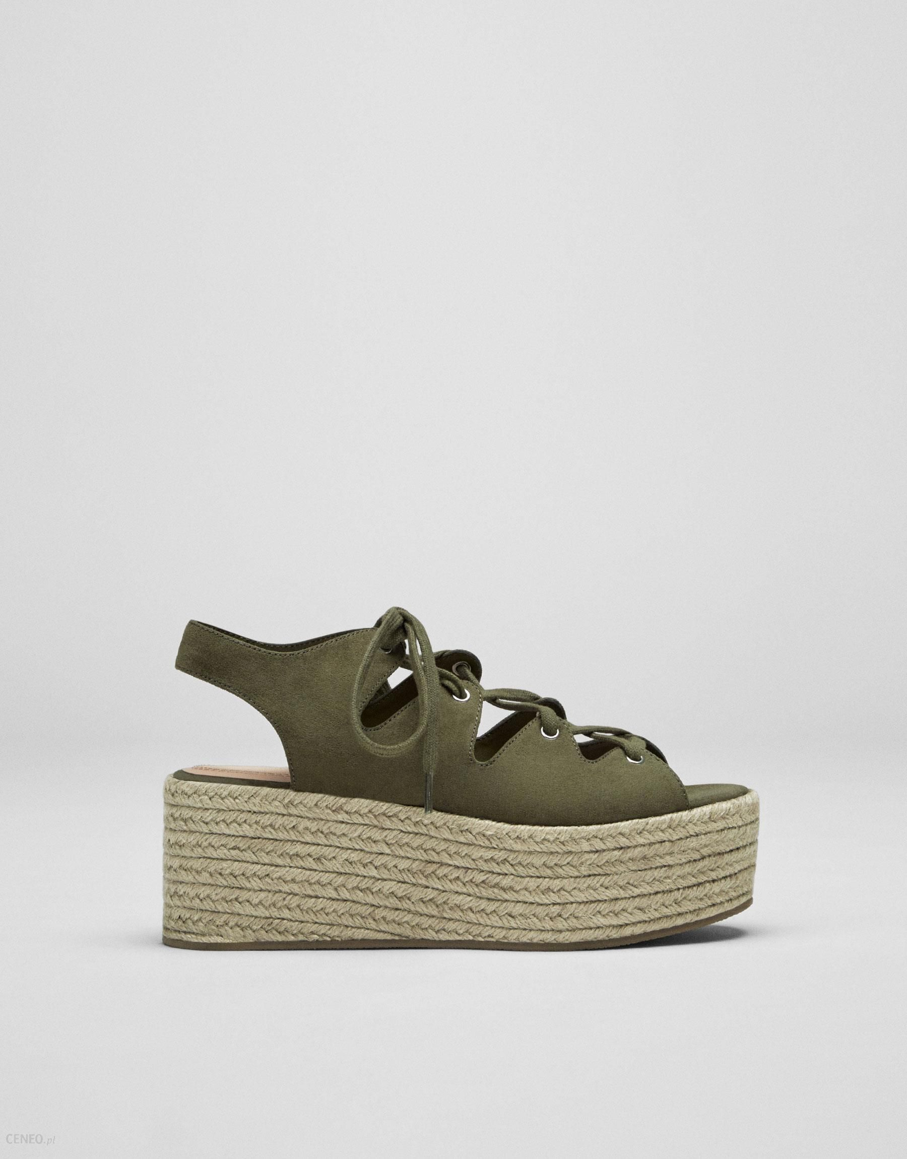 38e0b562 Pull&Bear Zielone sznurowane buty na koturnie z juty - Ceny i opinie ...