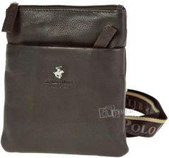 18c7c46e255b0 Beverly Hills Polo Club Virginia mała torba skórzana / saszetka na ramię -  ciemny brąz