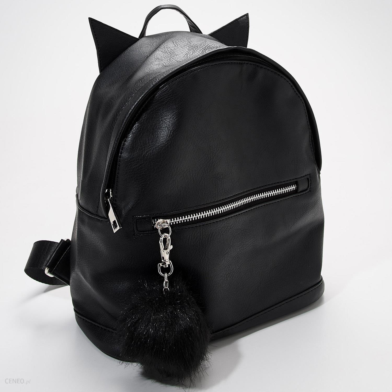 b5ea8cf5e1f7 Sinsay - Plecak z uszami i futrzanym brelok - Czarny - damski - zdjęcie 1