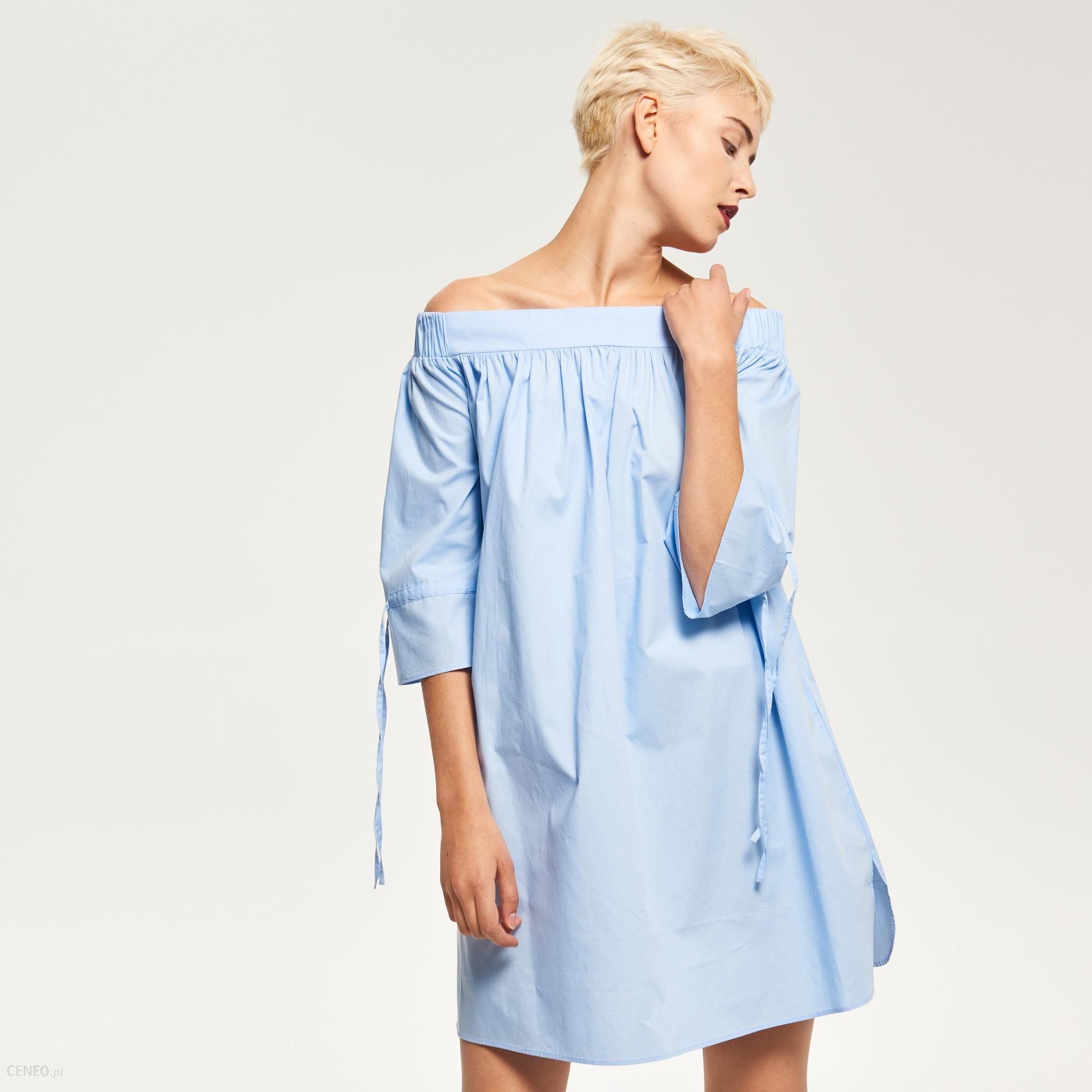 f3bf79a7a38c96 Reserved - Sukienka z wiązaniami przy rękawach - Niebieski - damski -  zdjęcie 1