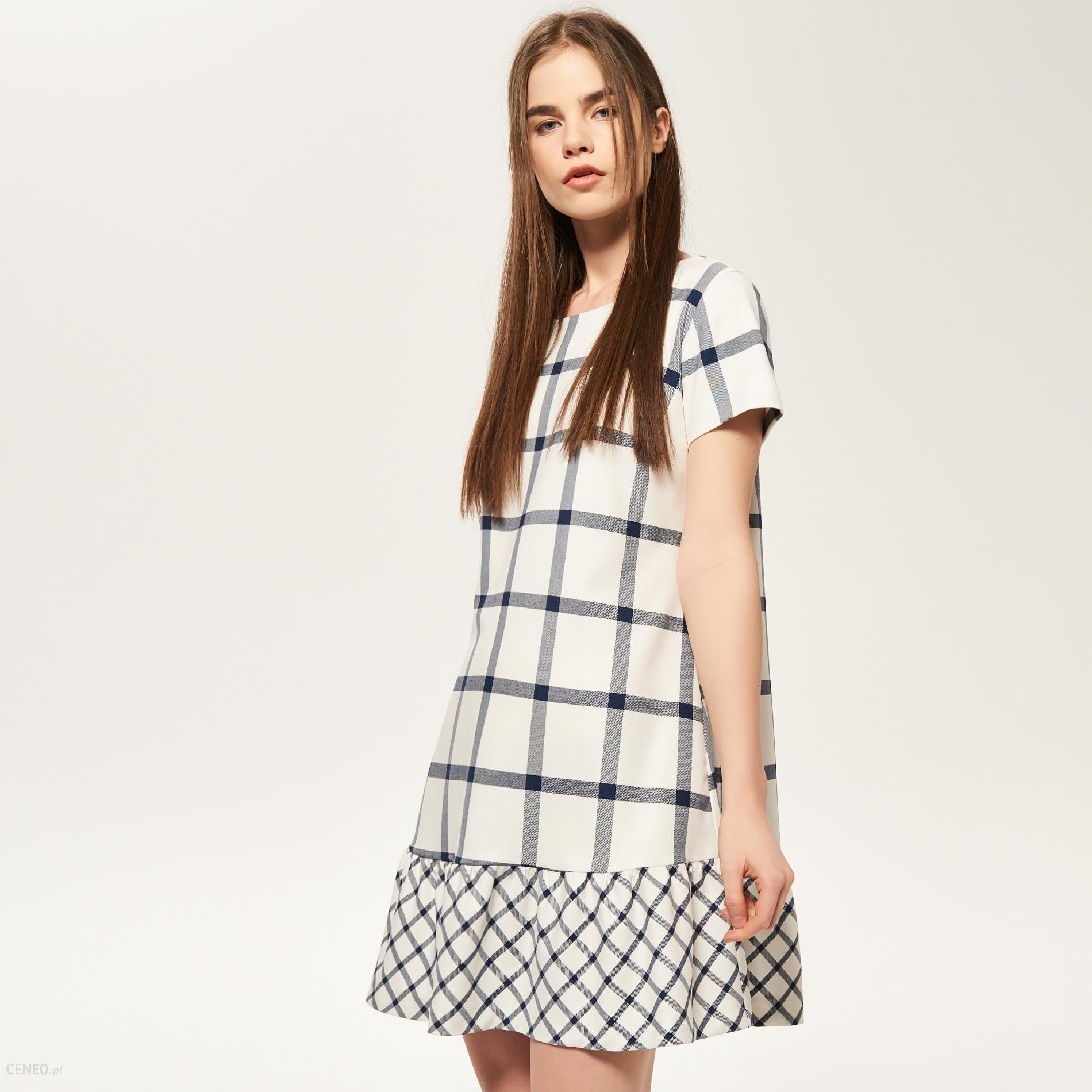 547d8f53 Reserved - Sukienka w kratę z falbaną na dole - Wielobarwn - damski