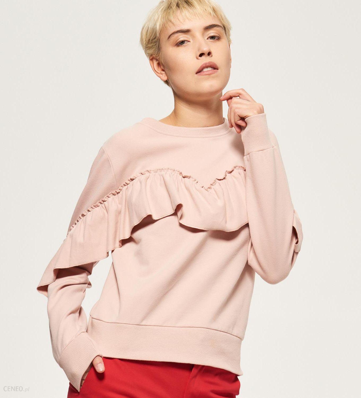 Reserved Bluza z falbaną Różowy damski