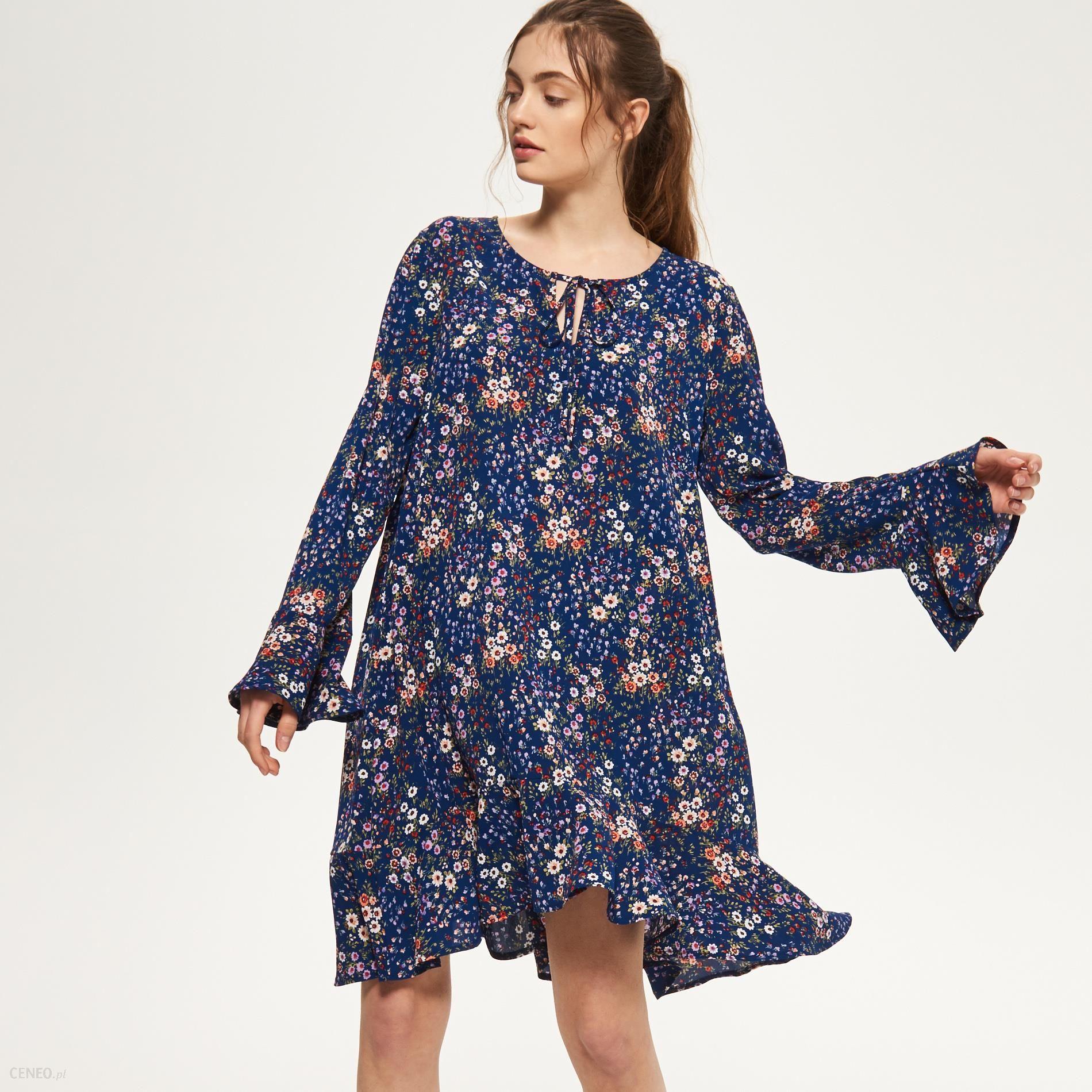 Reserved Sukienka z falbanami w kwiaty Wielobarwn damski