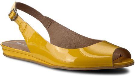 7344059c Beżowe sandały peep toe na koturnie z odkrytymi palcami i piętą ze ...