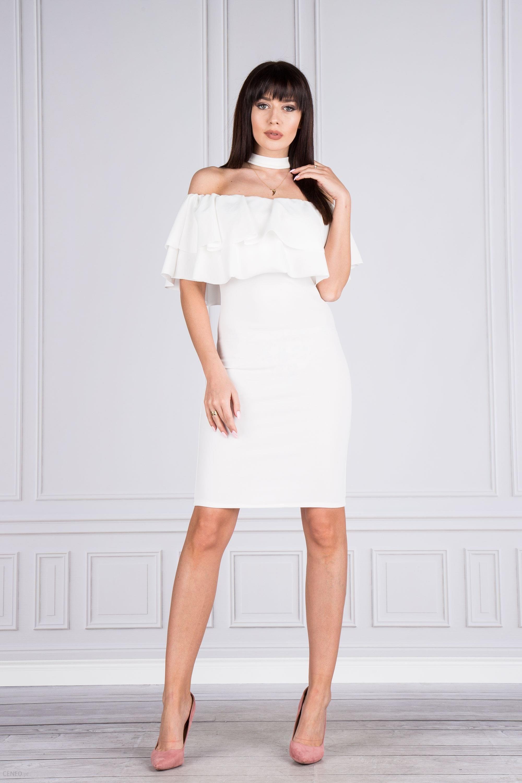 ba800dc5ea PtakModa - Sukienka koktajlowa z hiszapńskim dekoltem i chokerem - zdjęcie 1