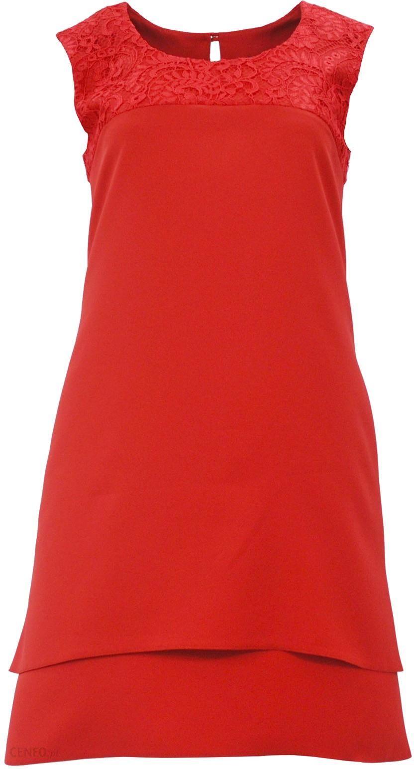 c19a77976f Sukienka trapezowa z koronką na ramionach D. ROZMIAR (czerwona) - zdjęcie 1