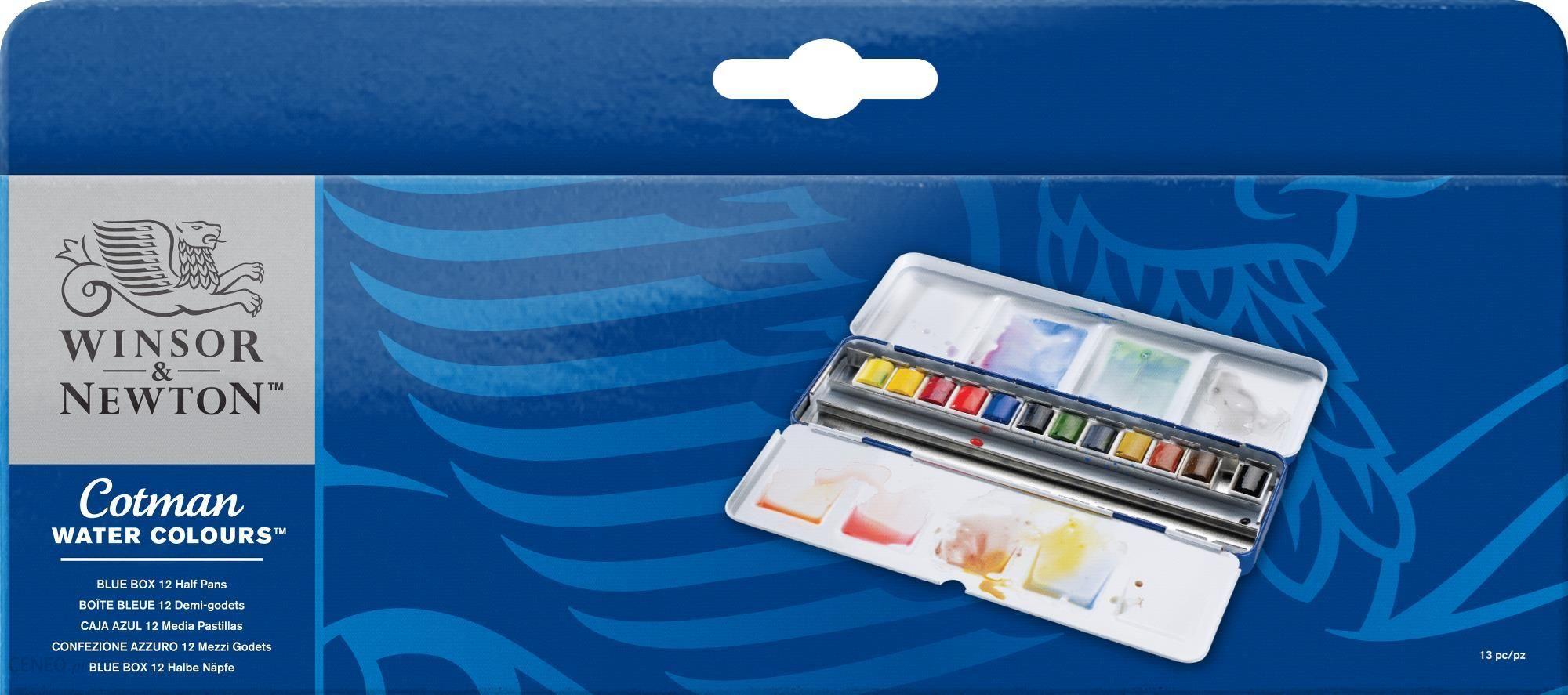 """""""W&N Cotman BLUE BOX 12 semi-cubes / 24"""" - akvarelinių dažų rinkinys"""
