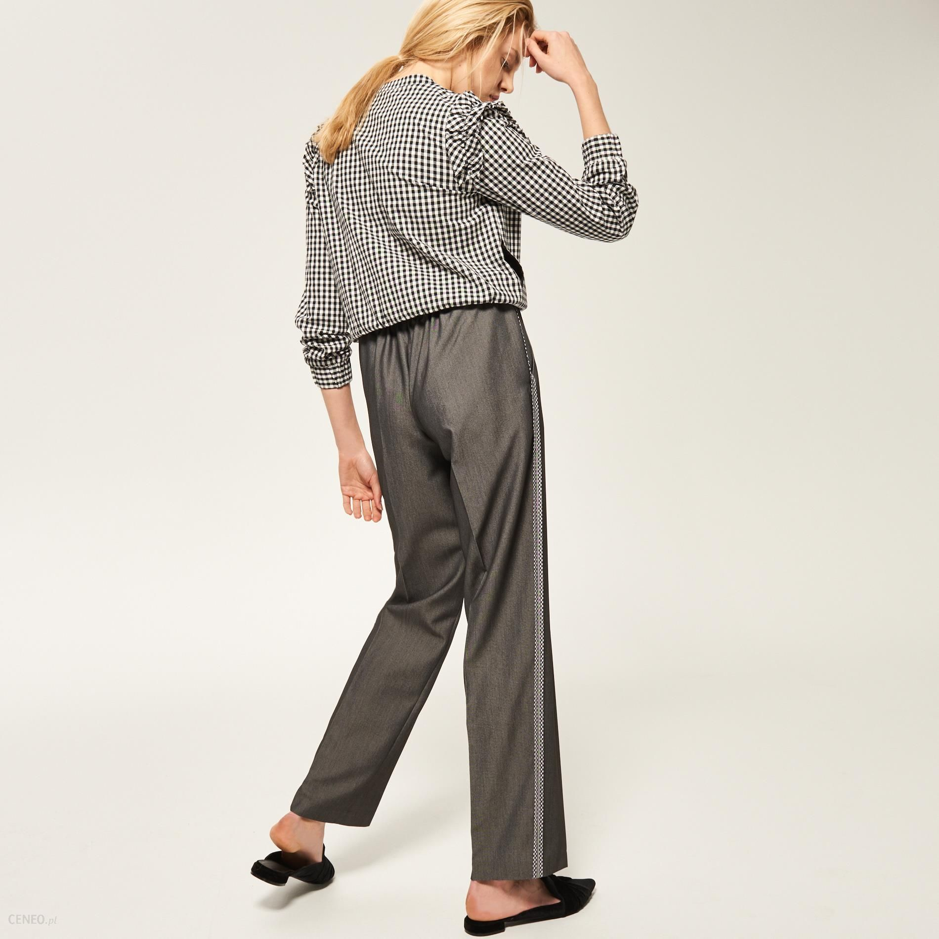d1f4aae4d71754 Reserved - Eleganckie spodnie z lampasem - Szary - damski - Ceny i opinie -  Ceneo.pl