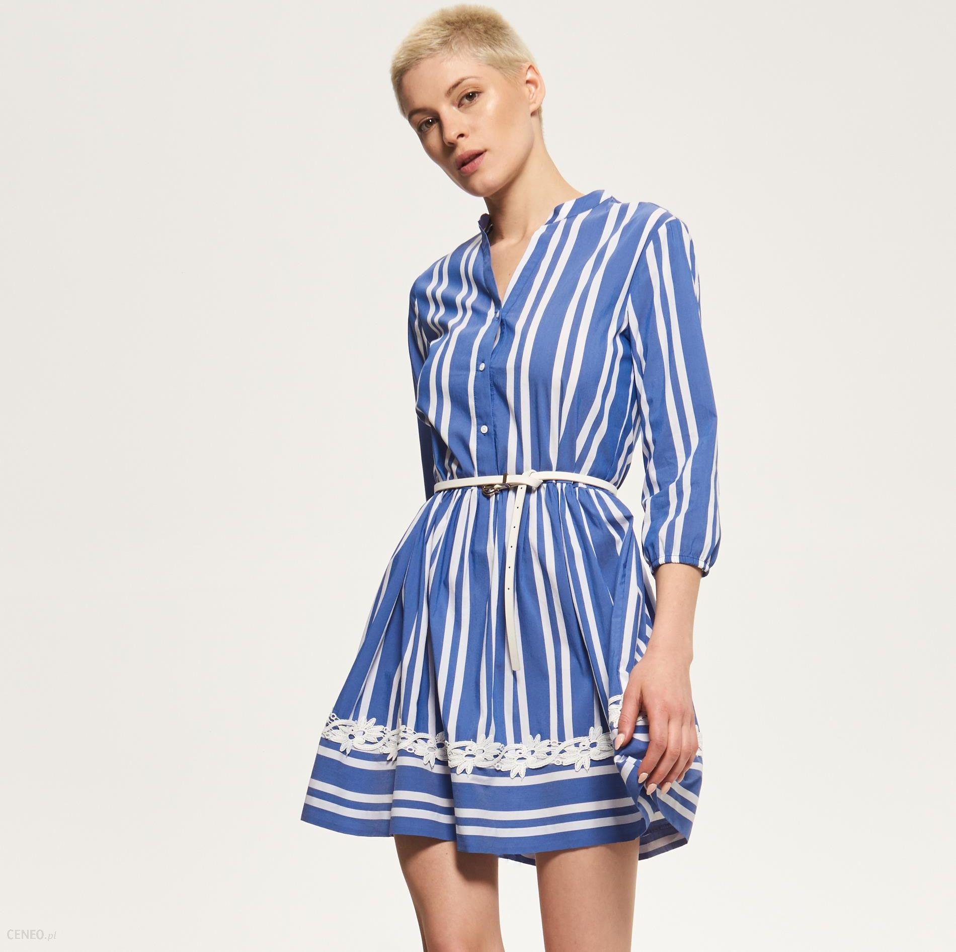 b788d530c0 Reserved - Koszulowa sukienka w paski - Niebieski - damski - Ceny i ...