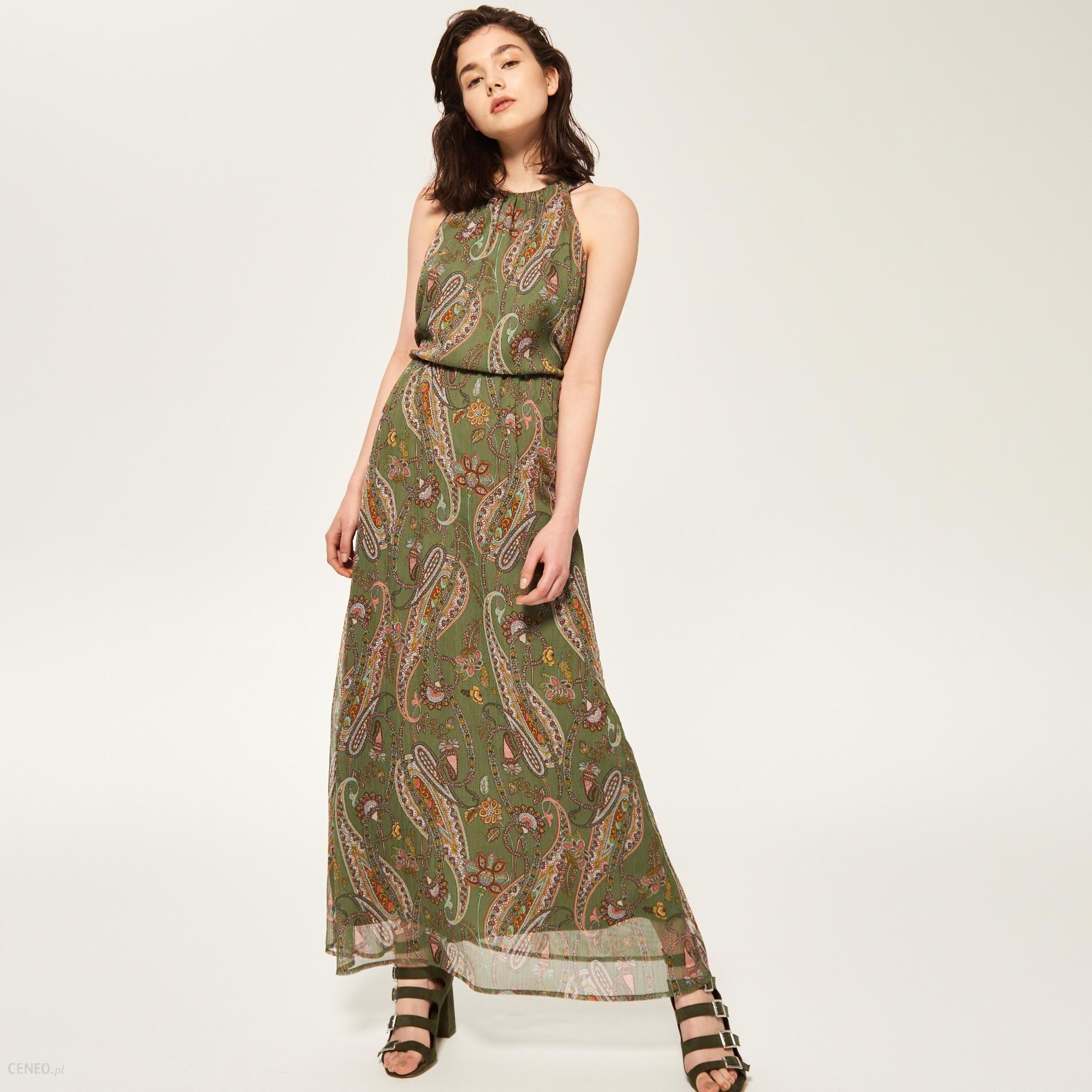 0d670466 Reserved - Długa sukienka we wzory - Wielobarwn - damski